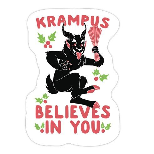 Krampus Believes in You Die Cut Sticker