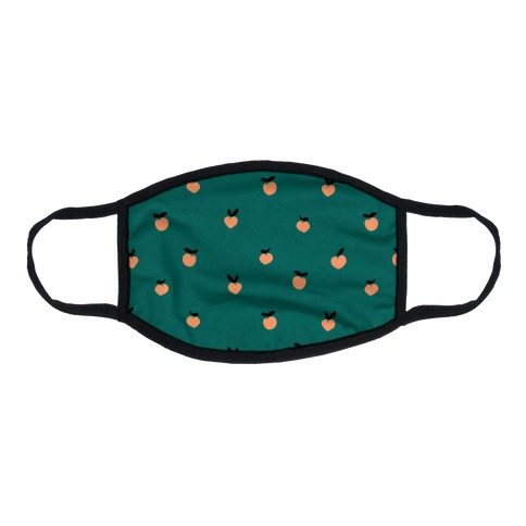 Dainty Peach Pattern Teal Flat Face Mask