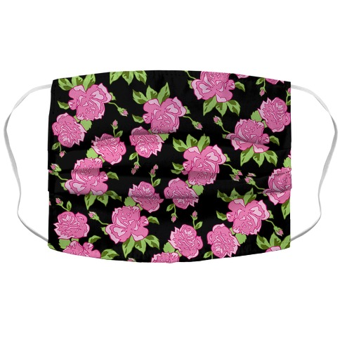 Black and Pink Floral Pattern Accordion Face Mask