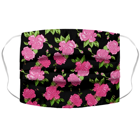 Black and Pink Floral Pattern Face Mask Cover