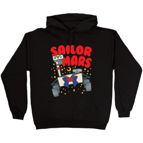 Sailor Mars Perseverance Parody White Print Hooded Sweatshirt