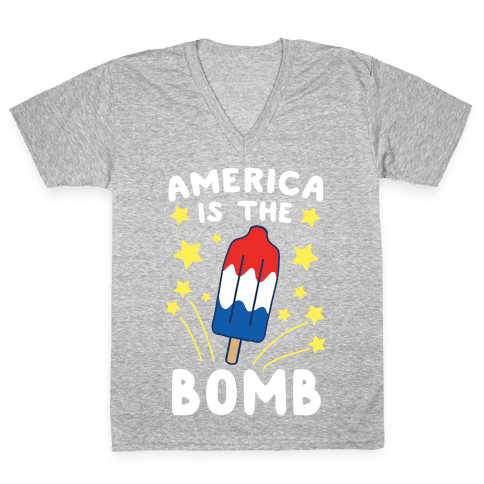 America is the Bomb - Pop V-Neck Tee Shirt