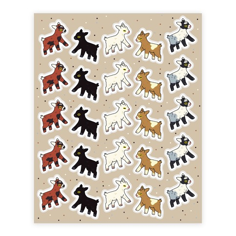 Baby Goats On Baby Goats Pattern Sticker and Decal Sheet