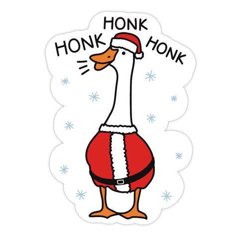 Honk Honk Honk Santa Goose Die Cut Sticker