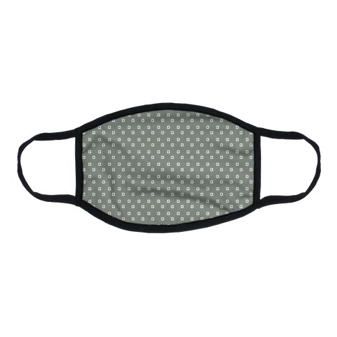 Dainty Squares Pattern Grey Flat Face Mask
