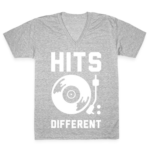 Hits Different Vinyl Record V-Neck Tee Shirt