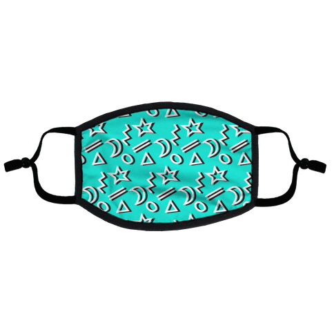 90's Teal Party Pattern Flat Face Mask
