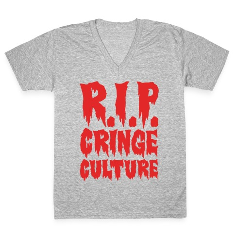 R.I.P. Cringe Culture White Print V-Neck Tee Shirt