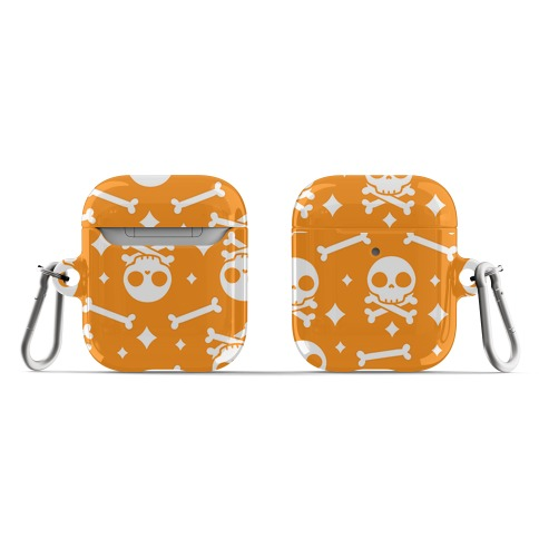 Cute Skull N' Bones Pattern (Orange) AirPod Case