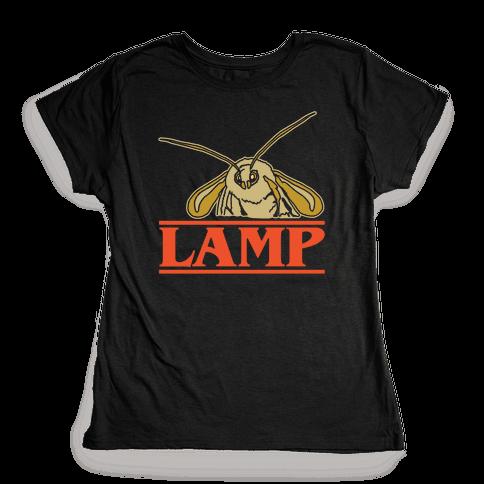 Lamp Moth Stranger Things Parody White Print Womens T-Shirt