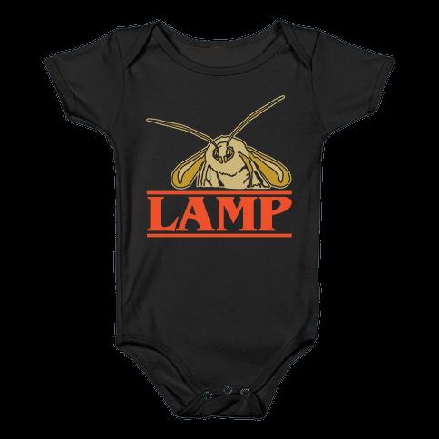Lamp Moth Stranger Things Parody White Print Baby Onesy