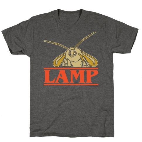 Lamp Moth Stranger Things Parody White Print T-Shirt