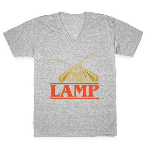 Lamp Moth Stranger Things Parody White Print V-Neck Tee Shirt