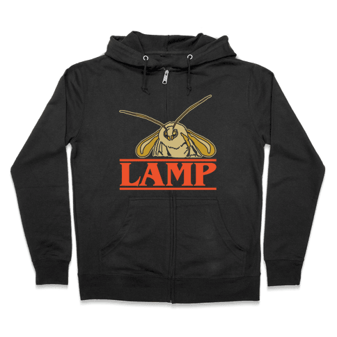 Lamp Moth Stranger Things Parody White Print Zip Hoodie