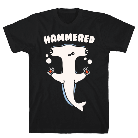 Hammered White Print Mens T-Shirt