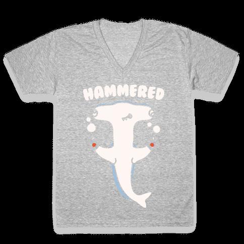 Hammered White Print V-Neck Tee Shirt