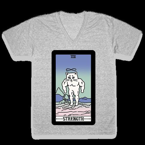 Strength Cat Meme Tarot Card White Print V-Neck Tee Shirt