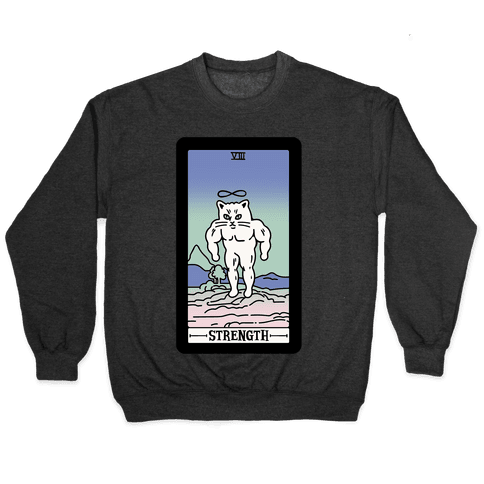 Strength Cat Meme Tarot Card White Print Pullover