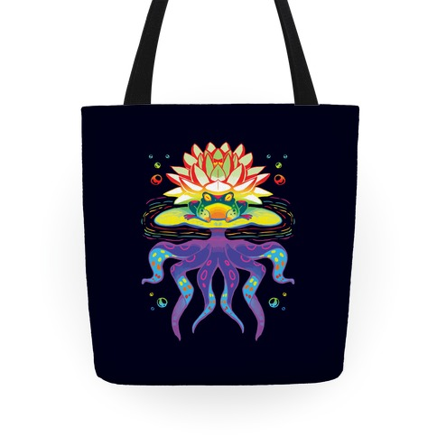 Psychedelic Lily Frog Tote
