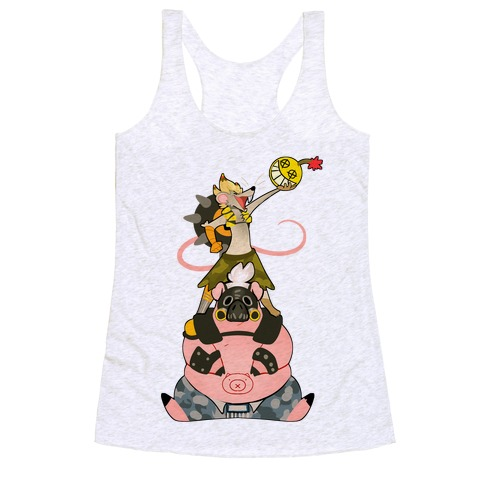 Our Names Are Junkrat and Roadhog! Racerback Tank Top