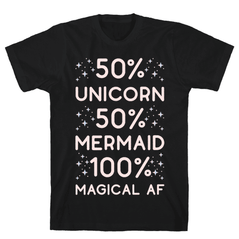 50% Unicorn 50% Mermaid Mens T-Shirt