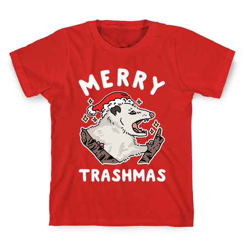 Merry Trashmas Opossum Kids T-Shirt