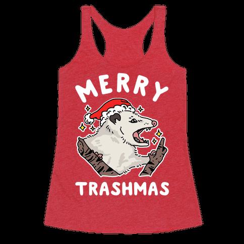 Merry Trashmas Opossum Racerback Tank Top
