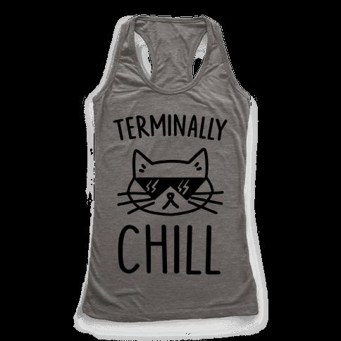 Terminally Chill Cat Racerback Tank Top