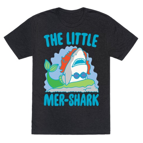 The Little Mer-Shark Parody White Print T-Shirt