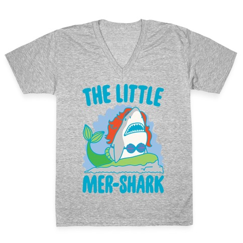 The Little Mer-Shark Parody White Print V-Neck Tee Shirt