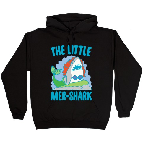 The Little Mer-Shark Parody White Print Hooded Sweatshirt