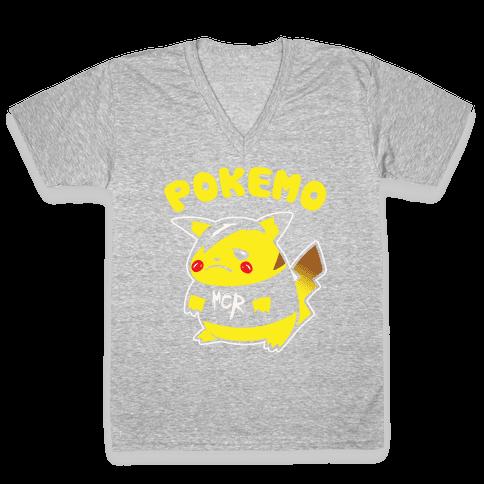 Pokemo Parody White Print V-Neck Tee Shirt