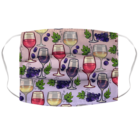 Wine and Grapes Pattern Accordion Face Mask