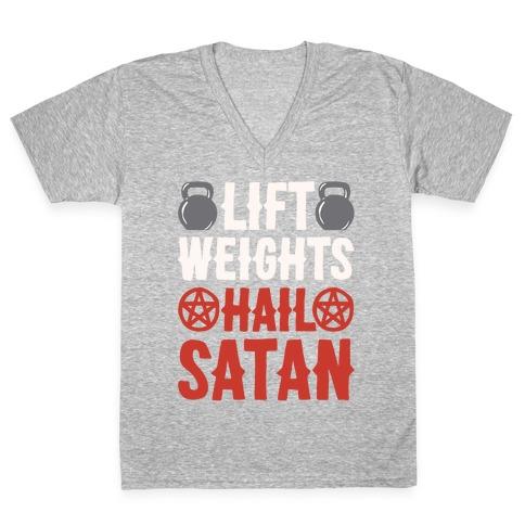 Lift Weights Hail Satan White Print V-Neck Tee Shirt