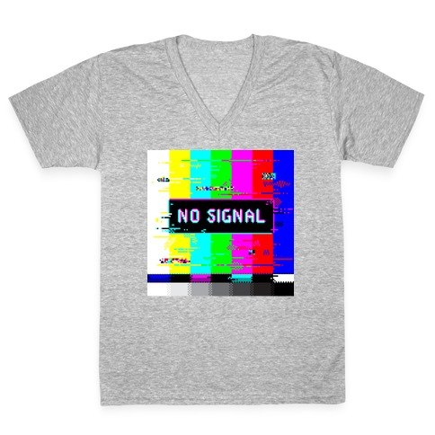 Glitchy No Signal Bars V-Neck Tee Shirt