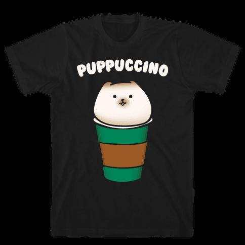 Puppuccino Parody White Print Mens T-Shirt