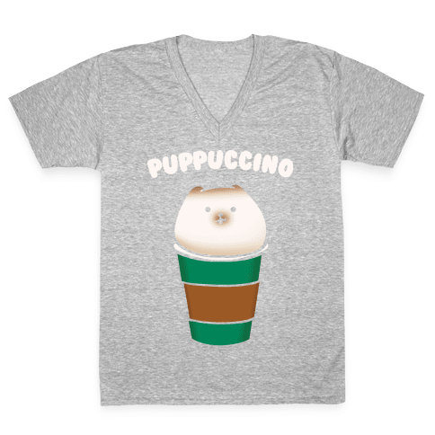 Puppuccino Parody White Print V-Neck Tee Shirt