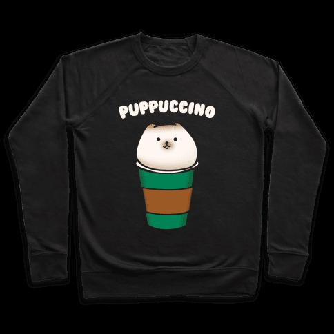 Puppuccino Parody White Print Pullover