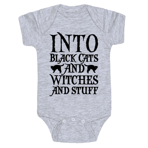 Into Black Cats and Witches and Stuff Parody Baby Onesy