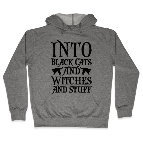 Into Black Cats and Witches and Stuff Parody Hooded Sweatshirt
