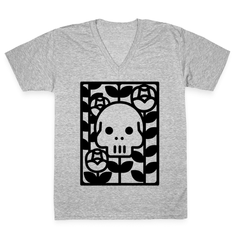Flower Skull V-Neck Tee Shirt