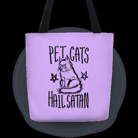 Pet Cats Hail Satan Tote