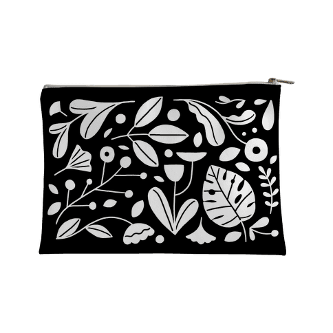 Black and White Plant Pattern Accessory Bag