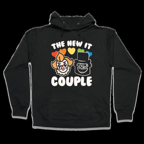 The New It Couple Parody White Print Hooded Sweatshirt