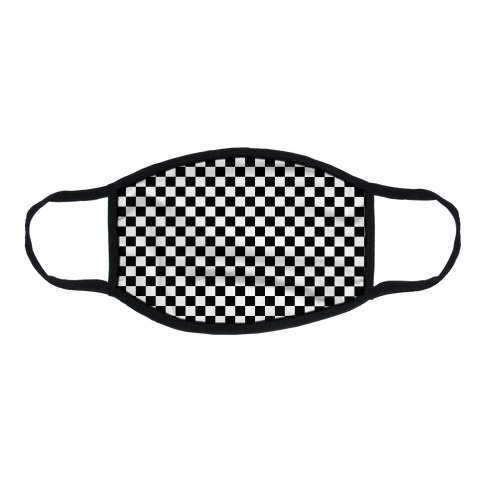 Checkered Black and White Flat Face Mask