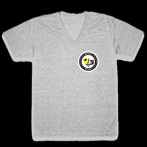 Gender Bender Patch V-Neck Tee Shirt