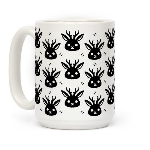 Cute Jackalope Black and White Pattern Coffee Mug