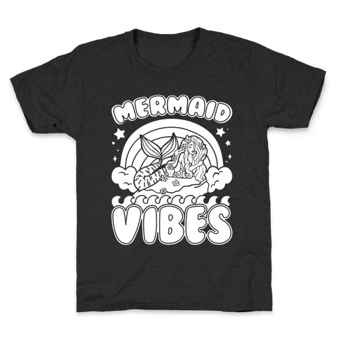 Mermaid Vibes Coloring Book Style Shirt White Print Kids T-Shirt