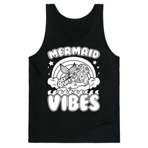 Mermaid Vibes Coloring Book Style Shirt White Print Tank Top