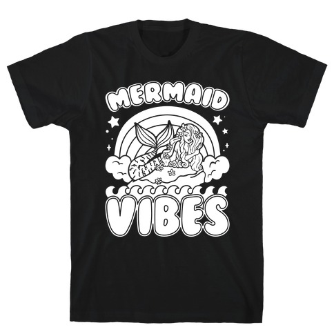 Mermaid Vibes Coloring Book Style Shirt White Print T-Shirt